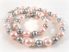 Childrens Pearl Necklace Pink and Grey Gray Flower Girl Jewelry. $40.00, via Etsy.