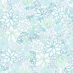Silver Succulent Plants Seamless Pattern Background Royalty Free Stock Vector Art Illustration