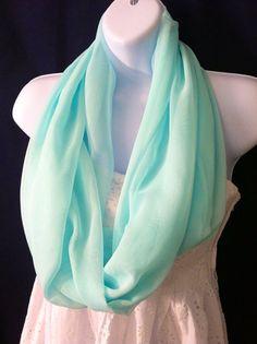 Sheer flirty mint green infinity scarf on Etsy, $15.00