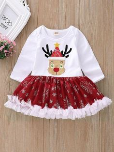 11c2621ad2d3 Infant Toddler Girls Lace Trimmed Reindeer Ruffled Christmas Romper Dress