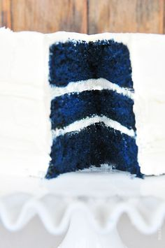 Blue Velvet Cake - Just like my delicious Red Velvet Cake but tinted blue. Great for baby boy showers, patriotic holidays and more!  from addapinch.com