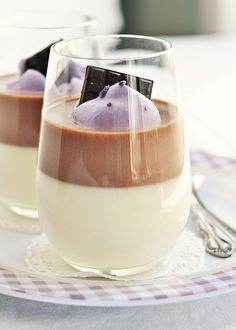 Chocolate & Lavender-Vanilla Bean Panna Cotta