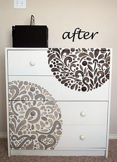 stencil on furniture --I wonder if Jason would let me do something like this to the dresser he redid...or I could do it on the guestroom dresser and nightstand!