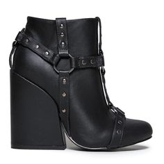 Black craft harness yru booties witchy o ring NEW Black vegan leather upper, gunmetal hardware. 4 1/2 inch heel. Brand is YRU Jeffrey Campbell Shoes Ankle Boots & Booties