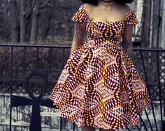 Nia  Ankara africain Wax Print Print Dress