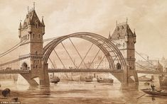 This rejected blueprint of Tower Bridge, which was submitted by Sir Horace Jones in 1878, shows the bridge with a semi-circle of metal between its two arches instead of the two horizontal walkways tourists would now recognise. The final design, which was also by Sir Horace due to his position as the City of London's official architect, was finished in 1894 after eight years of construction. It is estimated that around 430 workers were drafted in from across the country to finish the bridge