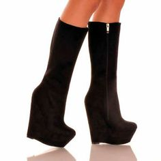 Turn Up Your Look With This Bold HALEY Wedge Heel Tall Boot From Highest Heel