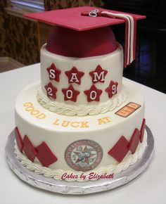 Graduation - Cake I made for my son's high school graduation.  Cherry cake with cherry filling, covered in BC with edible images and fondant accents.  Thanks for looking!
