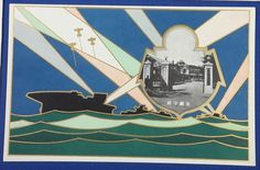 1930's Japanese Imperial Navy Art Postcards Commemorative for The Great Exposition of the National Defense & Industry held by Kure City (Hiroshima Pref.) - Japan War Art / vintage antique old Japanese military war art card / Japanese history historic paper material Japan