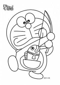 disegni da colorare doraemon a pesca