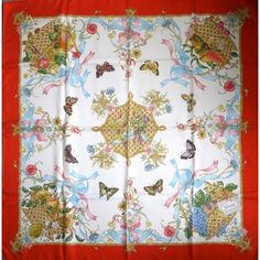 GUCCI silk scarf, signed V d'Accornero, butterflies, red border