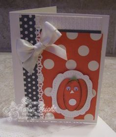 Punch Art Pumpkin in the Polka-Dot Pumpkin Patch Card  Need more creative ideas?  www.stampingcountry.com