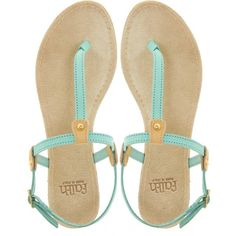 Faith Jada Thong Aqua Flat Sandals ($23) ❤ liked on Polyvore