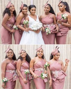 Image may contain: 9 people, wedding African Bridesmaid Dresses, African Wedding Attire, African Lace Dresses, Mermaid Bridesmaid Dresses, Bridesmaid Dress Styles, Lace Bridesmaids, Bridesmaid Bouquets, Bridal Bouquets, Braids Maid Dresses