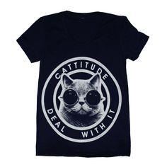 """Cattitude Tee Shirt Black *L<3VE* """" Cattitude Deal With It """""""
