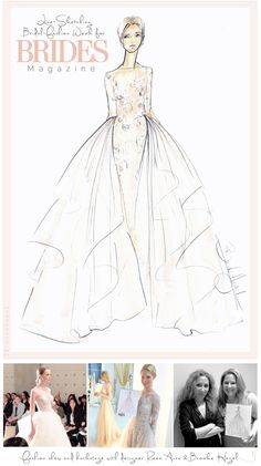Brooke Hagel: Live-Sketching Bridal Fashion Week for Brides Magazine (Shown here: Reem Acra)