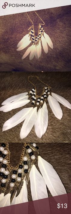 Heavenly feathers golden feathers necklace Gorgeous!!!  White feather plumes set with black and white pearls and brass feathers on a brass chain Jewelry Necklaces