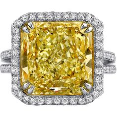 8.94 Carat Gia Cert Yellow Diamond Platinum Ring ($247,000) ❤ liked on Polyvore featuring jewelry, rings, yellow, yellow ring, canary diamond jewelry, fancy jewellery, canary yellow diamond ring and platinum rings