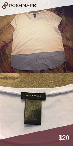 Ann Taylor top Ann Taylor white shirt with navy and white pinstripe blouse bottom. Perfect condition. NWOT. Never worn. Ann Taylor Tops Blouses