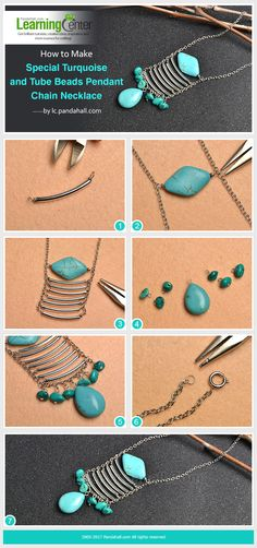How to Make Special Turquoise and Tube Beads Pendant Chain Necklace from LC.Pandahall.com