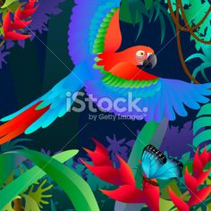 Vector stock illustration of a flying blue macaw parrot in the Amazon rainforest by Kathy Konkle. Visit her portfolio website http://www.konkle.com