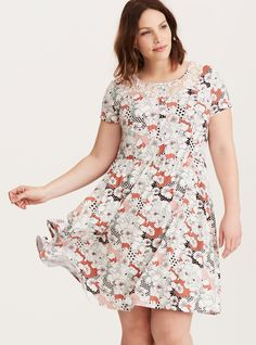 Disney Winnie the Pooh Floral Dot Print Lace Inset Skater Dress, MULTI