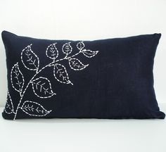 Hand Embroidered - Navy Blue