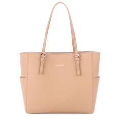 Nude tote bag, Adèle, Lancaster Paris. #nude #bag #handbag #totebag #cabas #sac #saffiano #chic #simple #accessory #military #lancaster #lancasterparis