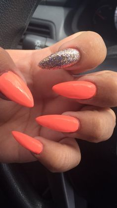 OPI flip flop fantasy, stiletto nails, summer, fun, accent nail, rose gold glitter
