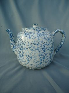 Antique Blue and White Stoneware Spongeware Teapot with Original Lid