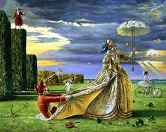 Adamant Time to Love (by Michael Cheval)New York artist who creates enigmatic paintings in Surrealism. Called his style ' Absurdity'.