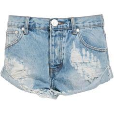 One Teaspoon Hustler Bandits Shorts ($104) ❤ liked on Polyvore featuring shorts, pants, blue, blue shorts, one teaspoon shorts and one teaspoon