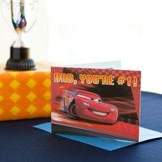 This awesome Lightning McQueen card will guarantee your Dad a turbo-charged Father's Day!