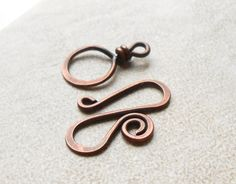 Three Large Handmade Antiqued copper Fancy S clasp by dmsupply, $12.00 16 gauge