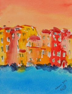 Watercolor painting Portovenere, close to Cinque Terre, Italy, Original Painting on watercolor paper