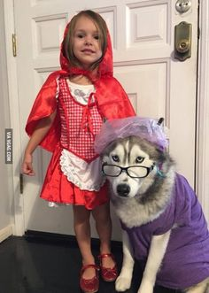 This little girl and her dog had the best trick or treat costume