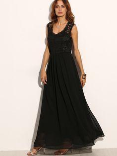 Lace Overlay Full Length Dress -SheIn(Sheinside)