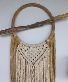 """""""I love the mixture of textures and material in this piece ~twine, wood, natural & hand dyed cotton rope~ I cannot wait to teach this Macramé Wall Hanging…"""""""