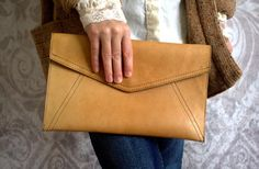 1970s Camel Colored Leather Clutch $40.00