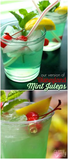 mint drink Mint Julep drinks have become the most popular non-alcoholic drink at Disneyland. They are perfect for a hot summer day with a little bit of mint, lemon, and lime flavors. Easy Drink Recipes, Copycat Recipes, Cooking Recipes, Punch Recipes, Simple Recipes, What's Cooking, Grilling Recipes, Summer Recipes, Delicious Recipes