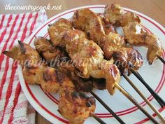 The Country Cook: Grilled Chicken Skewers {Best Marinade EVER!}