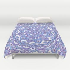 Lilac Spring Mandala - floral doodle pattern in purple & white Duvet Cover by Micklyn | Society6