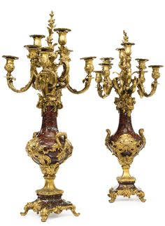 Robert Frères A pair of Louis XV style gilt bronze and rouge griotte marble and painted eight-branch candelabra Paris, late 19th century