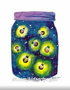 Out of the Mason Jar: Firefly Communication - My CMS Spring Art, Summer Art, Round Robin, Firefly Art, Sibylla Merian, Fireflies In A Jar, Bug Art, Ecole Art, Insect Art