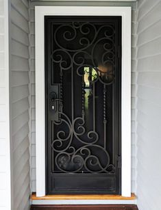 A unique wrought iron security entry door by Adoore Iron Designs located in Melbourne Australia. Wrought Iron Security Doors, Wrought Iron Doors, Gates For Sale, Grill Door Design, Iron Gate Design, Steel Doors, Entry Doors, Patio Doors, Metal Walls