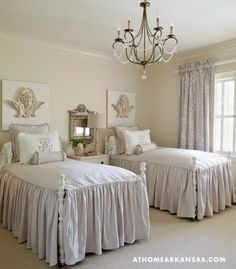 Twin guest beds are layered in linen coverlets from Horchow. The ANGEL plaques!  Soft, yet sleek, perfect color mix for warmth and elegance<3