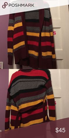 Stripped long sweater Stripped long sweater. Burgundy, grey, yellow, and black American Eagle Outfitters Sweaters Cardigans