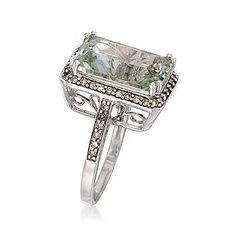 """Green Amethyst ring....with balanced lines to bring balance into my life...  Amethyst is known under the name """"stone of transformation"""". This semi precious gemstone is believed to possess many beneficial metaphysical properties. It heals, restructures, and restores the physical body, the mind and the soul of the person who wears it.  Amethyst is a stone of strength, peace, pleasure, protection and spirituality. It purifies and is excellent crystal for meditation. It is known to balance the…"""