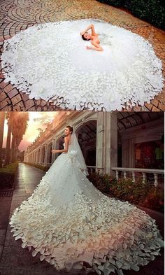 Luxurious cathedral wedding dresses with handmade petal wedding dress # . - Luxurious cathedral wedding dresses with hand made petal wedding dress dress - Wedding Dress Trends, Princess Wedding Dresses, Dream Wedding Dresses, Bridal Dresses, Wedding Gowns, 2017 Wedding, Lace Wedding, Feather Wedding Dresses, Mermaid Wedding