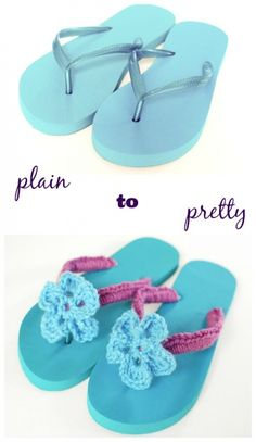 Dress up your flip flops with this quick and easy crochet flip flops tutorial. All you need is a pair of plain flip flops some leftover yarn from your scrap pile and your hook Crochet Sandals, Crochet Shoes, Crochet Slippers, Love Crochet, Crochet Clothes, Crochet Flowers, Knit Crochet, Crochet Summer, Crochet Stitch
